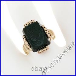 Antique Victorian 14k Rose & Yellow Gold Carved Concave Cabochon Carnelian Ring