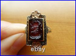 Antique Victorian 14k rose green gold carved left facing carnelian intaglio ring