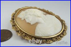 Antique Victorian 15k Gold Finely Carved Shell Bacchante Cameo Brooch