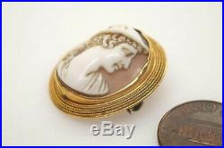 Antique Victorian 18k Gold Finely Carved Shell Hermes / Mercury Cameo Brooch