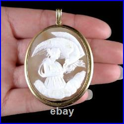 Antique Victorian 9ct Gold Hand Carved Cameo Pendant