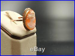 Antique Victorian Cameo Ring 14kt S8.5 Signed Fine Quality High Detailed Carving