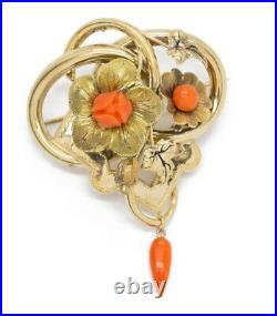 Antique Victorian Carved Coral Floral Pendant Brooch Pin and Earrings Boxed Set