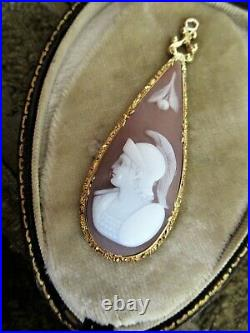 Antique Victorian Carved Shell Cameo Gold Pendant
