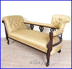 Antique Victorian Chaise Longue Sofa Carved Mahogany Fine Quality