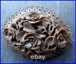 Antique Victorian Chinese fine carved wood rose flower brooch hinged c pin -58