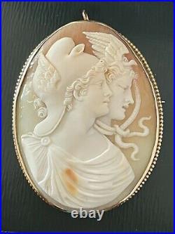 Antique Victorian Era Italian Carved Cameo Medusa Gorgon 10K Gold Brooch Pendant