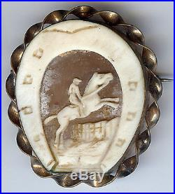 Antique Victorian Finely Carved Shell Cameo Jumping Horse Equestrian Pin