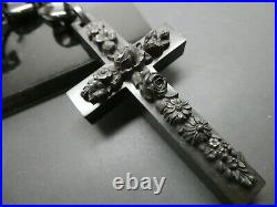 Antique Victorian Gutta Percha Ornate Carved Floral Mourning Cross Pendant 4