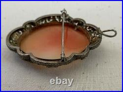 Antique Victorian Hand Carved Shell Cameo Brooch Pendant Of Three Graces Silver