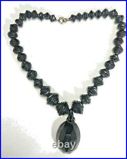 Antique Victorian Mourning Necklace Carved Faceted Whitby Jet Beads and Locket