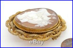 Antique Victorian Pinchbeck Finely Carved Shell Bacchante Cameo Brooch