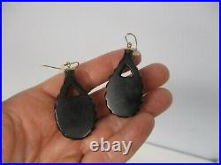 Antique Victorian Whitby Jet Mourning Carved Dangle Pierced Earrings 1 5/8