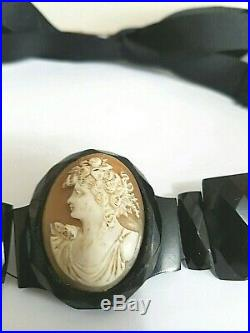 Antique Victorian Whitby Jet/shell Cameo Fine Carving Choker Necklace