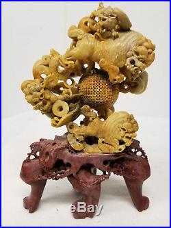 Antique Vintage Chinese Finely Carved Soapstone Food Dog Ball Sculpture Figure