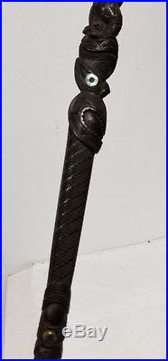 Antique Vintage Maori Finely Carved Captains Cane Mother of Pearl Abalone