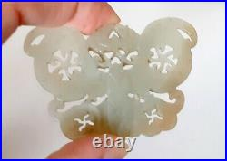 Antique White-Gray Butterfly Fine Carved Chinese Jade Pendant Amulet 58mm Long