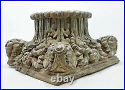 Antique Wooden Column Pillar Base Original Old Fine Hand Carved Rustic Color