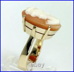 Antique cameo ring 14K yellow gold carved shell oval frameless 6.2 grams size 6