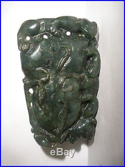 Antique fine 19thc Chinese carved green large pendant with animals