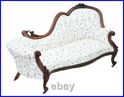 Antique fine quality Victorian C1870 carved walnut chaise longue or sofa