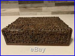 Antique finely carved 19th century Anglo Indian sandalwood box