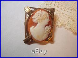 Antique gold marked fine cameo brooch pin vintage jewelry carved ornate shell