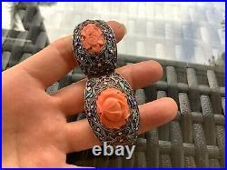 Antiquevintage Silver Enamel & 3 Carved Coral Flower Hinged Bracelet