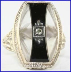 Art Deco Antique 14k White Gold Carved Camphor Glass Onyx Diamond Ring
