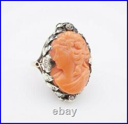 Art Nouveau 14k Gold Carved Coral Cameo Diamond Floral Ring Size 4.5 RG2305