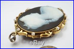 BEAUTIFUL ANTIQUE 15K FINELY CARVED HARDSTONE AGATE CAMEO BROOCH / PENDANT c1890