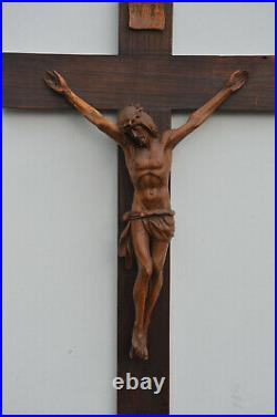 Beautiful Large Antique 20 th Century Fine Carved French Wooden Crucifix Cross