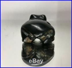 Beautiful Rare Fine Pre-Columbian Carved Green Hard Stone Frog Fetish