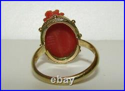 Beautifully Carved, Antique Georgian 15 Ct Gold Natural Coral Cameo Ring