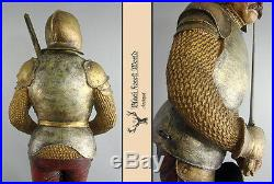 Black forest carved Wooden Knight with Byrnie very fine detailed