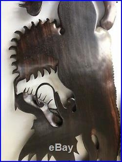 C1940s Fine Pair of Large Indonesian Carved Rosewood Wooden Dragon Panels