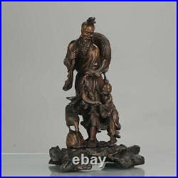 Ca 1900 Fine Chinese Carved Wood Statue of a Fisherman, Son and Crane