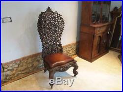 Chair fine rare 19thc Burmese carved single piece c1880