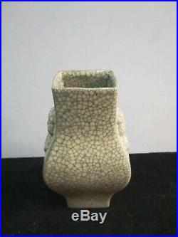 Chinese Antiques Song Guan Kiln Porcelain Vases Pot Fine-Carved Collection Marks