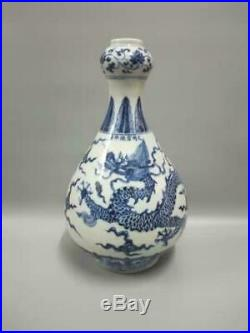 Chinese Blue & White Dragons Vases Fine-Carved Porcelain Marks XuanDe Antique