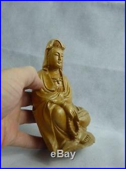 Chinese Carved Boxwood Guanyin Figure Mid 20th century Fine Quality