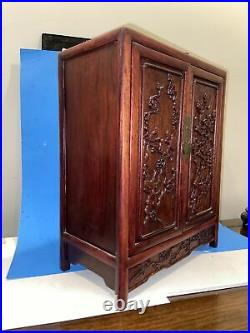 Chinese Finely Carved Hard Wood Miniature Cabinet Jewelry Case 15 1/2 H Florial