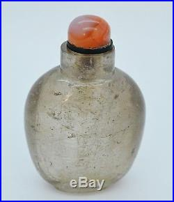 Chinese Hair Rock Crystal Snuff Bottle Fine Carved Qing Antique