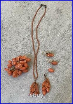 Chinese Victorian Carved Coral Acorn Leaf Pin Earrings Pendants Lot 18K Gold NR