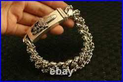 Chinese old 100% fine 925 Silver Hand Carved bracelet 142g