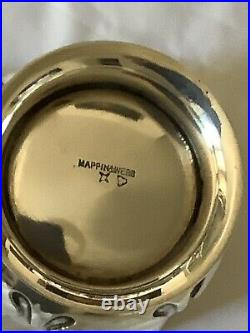 EXQUISITE FINELY CARVED MAPPIN & WEBB HM SILVER/GILT 215g CHRISTENING MUG 1924