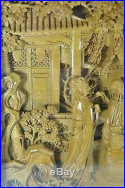 Estate Fine China Chinese Carved Wood Court Scene Table Screen Scholar Art