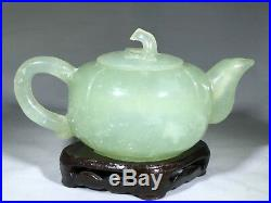 Exceptional quality fine carved Jade miniature Teapot with Hand Carved Stand