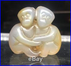 Exquisite & FINE Chinese Opalescent Agate Monkeys Netsuke Toggle Stone Carving