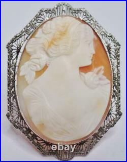 Exquisite Large Antique Fine Pierced 14k Gold Carved Shell Lady Cameo Brooch Pin